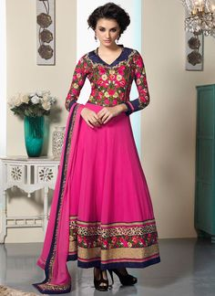 Elite Pink Patch Border And Resham Work Faux Georgette Designer Anarkali Suit, Product Code :7309, shop now http://www.sareesaga.com/elite-pink-patch-border-and-resham-work-faux-georgette-designer-anarkali-suit-7309  Email :support@sareesaga.com What's App or Call : +91-9825192886