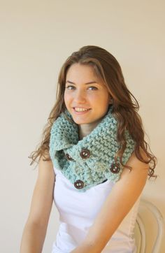 Mint Green HandMade Scarf Shawl Neckwarmer Cowl Mothers Day gift for women girls gift Under50