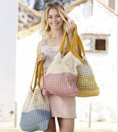 Free Crochet Pattern for a Beach Bag Back to the Beach / DROPS – Modèles crochet gratuits de DROPS Design Elişi❤️knitting Bag Crochet, Crochet Poncho, Love Crochet, Drops Cotton Light, Drops Kid Silk, Spring Bags, Summer Bags, Drops Design, Lace Patterns