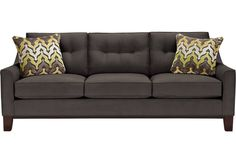 Onother solid option (not available right away but can be upgraded to a sleeper sofa which would be nice for guests) : Cindy Crawford Home Montclair Slate Sofa  from  Furniture