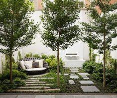 Dachgarten, Dachterrasse, Bäume, Sichtschutz, Sitzmöglichkeit, Wohnzimmer draussen, hell, modern