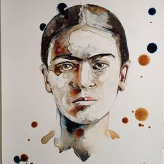 Frida Kahlo Art Print from Original Watercolor by RachaelRossman