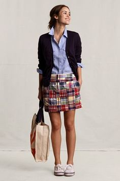 white keds with multi color plaid skirt with blue blouse and navy blue blazer totally adorable perfect for a preppy style