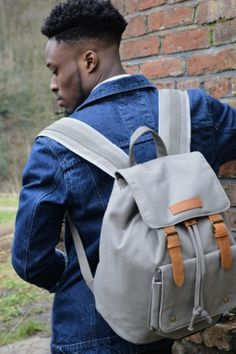 Kurtis Paul Mens Canvas Backpack, Rucksack in Overcast Grey
