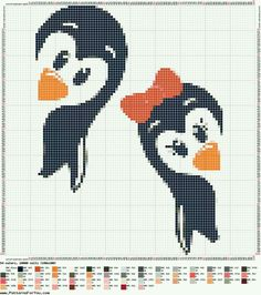 Cute penguin cross stitch.