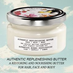 Authentic Replenishing Butter is a gentle and nourishing butter enriched with organic Jojoba Oil, Sesame Oil and shea butter, which have high elasticizing and regenerative power. Apply on dry hair before shampoo, leave on for at least 5 min. (for a stronger action, leave on overnight). Rinse and proceed with shampoo. Butter can also be used as an hydrating body and face treatment. It's a travel must-have!