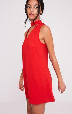 aac6451b1b9a Cinder Red Choker Detail Loose Fit Dress
