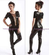 Gothic Black Bodysuit Catsuit Cat Woman Womens Halloween Costume S,M,L,XL,2XL