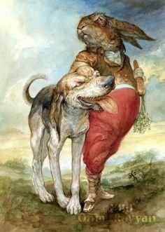 Haas met sy hond