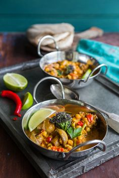 Chickpea Mushroom and Purple Sprouting Broccoli Curry