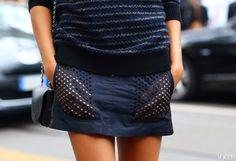 on the street - Joan Smalls in Alexander Wang shorts - Milan Fashion Week - Spring 2013