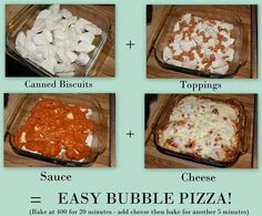 Myfridgefood - Bubble Pizza Not sure of points yet but will let everyone know. At least it looks easy and sounds good! 7 points plus if of whole Recipe For Bubble Pizza, Bubble Up Pizza, Bubble Bread, Sandwiches, Tacos, Canned Biscuits, Food Dishes, Main Dishes, Side Dishes