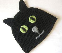 Black Cat Crochet Hat Halloween Cat Halloween Kitty by InChains, $20.00