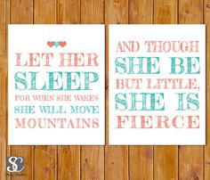 Hearts- Let Her Sleep For When She Wakes And Though She Be But Little, She is Fierce Nursery Wall Art Coral Teal  Set of 2 PRINTABLE (74)