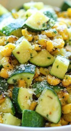 PARMESAN ZUCCHINI AND CORN = 2 T olive oil 2 cloves garlic 4 zucchinis, diced 1 cup corn kernels, frozen, canned or roasted t dried basil t dried oregano t dried thyme Kosher salt and freshly ground black pepper Juice of 1 lime 2 T chopped fre Healthy Recipes, Side Recipes, Vegetarian Recipes, Dinner Recipes, Cooking Recipes, Zuchinni Side Dish Recipes, Easy Zucchini Recipes, Summer Squash Recipes, Cooking Food