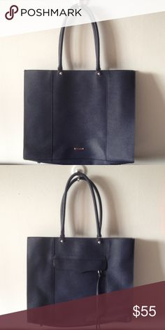Rebecca Minkoff large MAB tote bag dark blue Large/oversized MAB tote from Rebecca Minkoff in great shape but handles showing significant wear and would require repair in the long run. Saffiano leather, dark blue color. Rebecca Minkoff Bags Totes