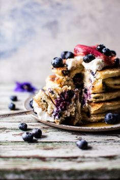 Blueberry Almond Pancakes with Roasted Strawberry-Rhubarb Sauce Vegetarian Breakfast, Savory Breakfast, Sweet Breakfast, Almond Pancakes, Pancakes And Waffles, Making Waffles, Half Baked Harvest, Brunch Recipes, Breakfast Recipes