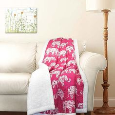 ⚜️ Add charm to your home with Lush Decor Pink and White Elephant Parade Throw Fuzzy Reversible Sherpa Blanket x 60 x 50 from Elephant Parade, Pink Elephant, Elephant Design, All Family, Space Furniture, Bedroom Furniture, Bed Throws, Baby Shop, Pillow Covers