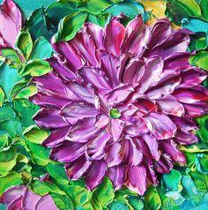 "Jan Ironside: ""Purple Dahlia"", Impasto."