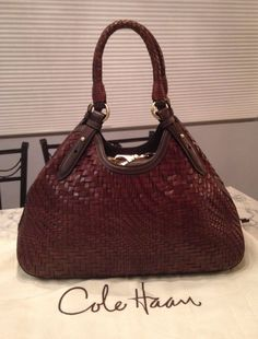 Cole Haan MINT! Genevieve Woven Leather Brown Hobo Tote Shoulder Hand Bag Purse #ColeHaan #TotesShoppers GORGEOUS!!! MINT CONDITION!!! BEAUTIFUL, RICH CHOCOLATE BROWN WOVEN LEATHER!!! SALE!!! WOW!!!