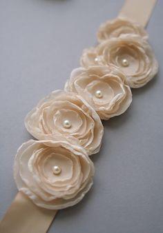 Champagne Wedding Sash Bridal Flower Belt Champagne by BelleBlooms