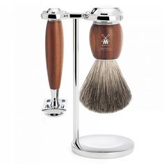 Muhle Vivo 3-Piece Shaving Set with Safety Razor and Pure Badger Brush, Plum Wood | Fendrihan Shaving Store
