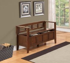 Simpli Home Adams Entryway Storage Bench, Medium Rustic Brown