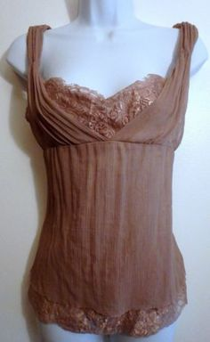 Tahari Dusty Rose Silk Boho Steam Punk Corset Style Top Size SP
