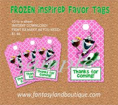 Frozen Inspired Favor Tags, Luau Olaf Favor Tags, Frozen Birthday Party, Digital File, You Print It party Decorations on Etsy, $1.49