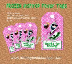 Frozen Inspired Favor Tags Luau Olaf Favor by FantasylandBoutique, $1.49