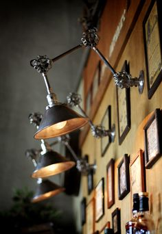USAヴィンテージ3点バルブ角度調整&シェード付ブラケットA/アンティーク工業系作業灯照明壁掛ランプ