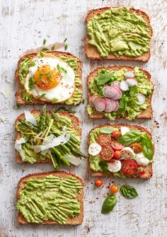 Spring Avocado Toast - 4 Ways Vegetable Recipes, Vegetarian Recipes, Cooking Recipes, Healthy Recipes, Brunch Recipes, Breakfast Recipes, Dinner Recipes, Healthy Snacks, Healthy Eating