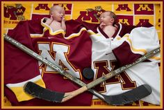 OMG the cuteness!10 day old Minnesota Golden Gopher Hockey fans :)