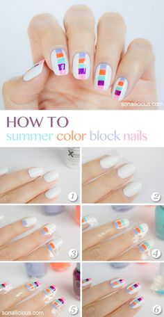 Summer nails: 1) white nail polish, 2) tape both sides of the nail to ensure equal blocks, 3) color the middle with happy, sparkling, fresh, cute,... colours :)