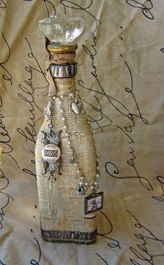 vintage craft ideas | Craft Ideas Maybe for bath bubbles? Text, newspaper, glass bottle, on glass, pretty, gifting idea, #DIY, crafting idea, decoupage