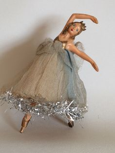 vintage Christmas tree fairy angel doll ballerina