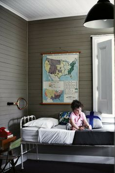 eclectic kids' room…color of walls, map, and light