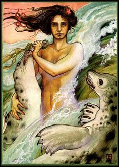 The mythological selkie is similar to a mermaid, except the selkie is a seal which can shed its skin and transform into a human being. The selkie can be either male or female, but most are female. Once they are in their human form, if their seal skin is taken or hidden from them, they are unable to turn back into a seal and thus cannot return to their home in the sea.