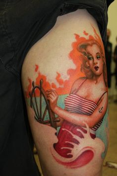 Sailor Pin Up Tattoo - Riccardo Cassese http://pinupgirlstattoos.com/sailor-pin-up-tattoo-4/