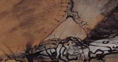 """Ce détail d'un dessin de Victor Hugo représente une partie d'un """"bras charmant"""" d'une enfant (ou d'une jeune femme?) qui émerge d'une manche pour se fondre dans un tissu - Lié au poème """"La sieste"""", du recueil """"L'Art d'être grand-père (II. Jeanne endormie)"""" de ce même Victor Hugo."""