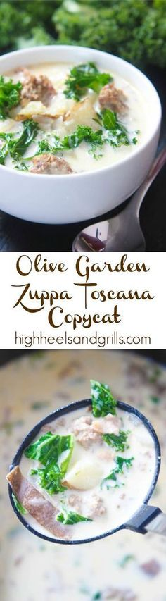 Olive Garden Zuppa Toscana Copycat. Easy soup recipe for dinner. http://www.highheelsandgrills.com/2015/03/olive-garden-zuppa-toscana-copycat.html