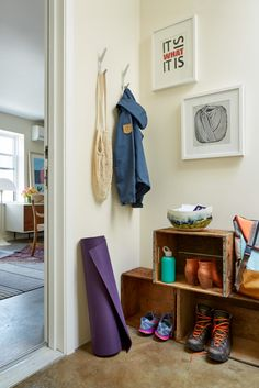 Hang a favorite piece of art in your entry space so that you get to enjoy it every time you come & go!