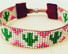 Your place to buy and sell all things handmade - Items similar to Dreamy Saguaro Cactus Loom Beaded Bracelet on Etsy - Loom Bracelet Patterns, Bead Loom Bracelets, Bead Loom Patterns, Bracelet Crafts, Beaded Jewelry Patterns, Beading Patterns, Cute Friendship Bracelets, Friendship Bracelet Patterns, Seed Bead Jewelry