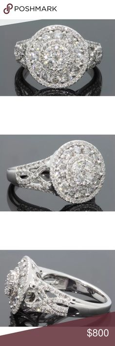 Amazing 2carat 10k white gold diamond cluster ring Amazing 2 carat 10k white gold diamond cluster ring! High quality/sparkly diamonds! Retail over $2000! Jewelry Rings
