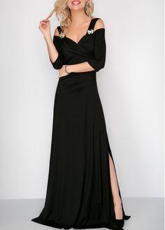 a734219f12c Side Slit Cold Shoulder Black Maxi Dress | modlily.com - USD $35.97 Black  Maxi
