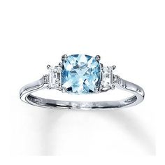 Kay Jewelers Aquamarine Ring With Sapphires
