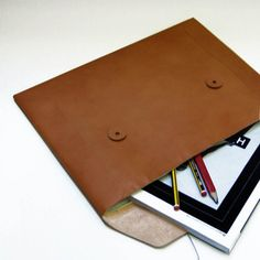leather folio with button tie closures