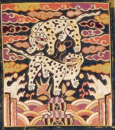 쌍호문 흉배 - 문화콘텐츠닷컴 Korean Image, Korean Art, Asian Art, Asian Steampunk, Tibetan Art, Tiger Art, Korean Traditional, Doodle Art, Illustration Art