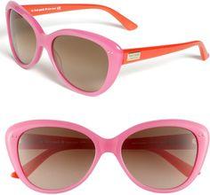 I want everything Kate spade. The Kate Spade pink & orange sunglasses Kate Spade Sunglasses, Retro Sunglasses, Sunglasses Box, Stylish Sunglasses, Ray Ban Sunglasses Outlet, Oakley Sunglasses, Kate Spade Nordstrom, Kate Spade Pink, Hot Pink
