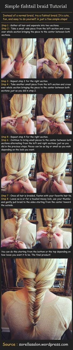 fishtail braid, easy tutorial, and has the strands on the inside instead of the outside, which I think usually turn out better! Fishtail Hairstyles, Girl Hairstyles, Pretty Hairstyles, Fishtail Braids, Plaits, Hairstyles For Going Out, Fishtail Braid Tutorials, Fishtale Braid How To, How To Fishtail